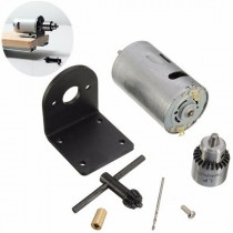 Mini Tornio 12-24V Lathe Press Motor with Drill Chuck and Mounting Bracket